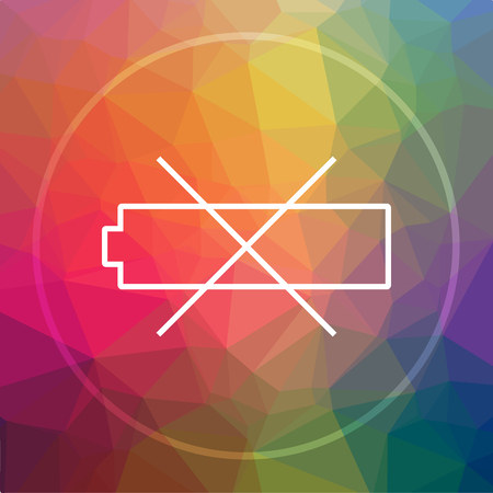low energy: Empty battery icon. Empty battery website button on low poly background.