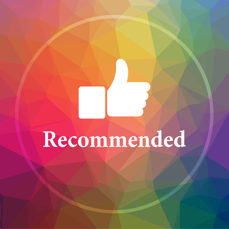 recommendations: Recommended icon. Recommended website button on low poly background. Stock Photo