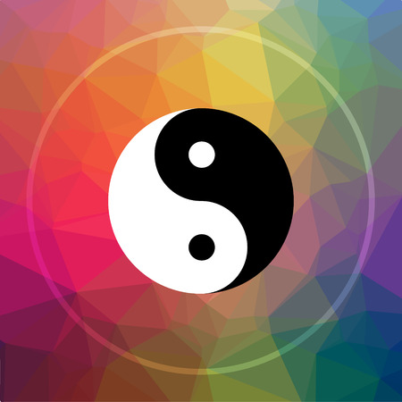 Ying yang icon. Ying yang website button on low poly background. Stock Photo