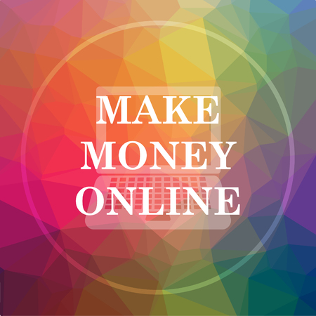 Make money online icon. Make money online website button on low poly background.