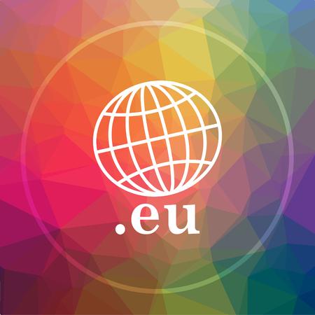 .eu icon. .eu website button on low poly background. Stock Photo