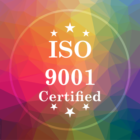 ISO9001 icon. ISO9001 website button on low poly background.