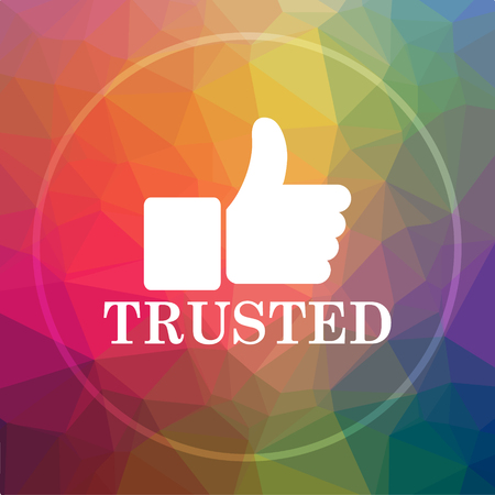 trusted: Trusted icon. Trusted website button on low poly background.
