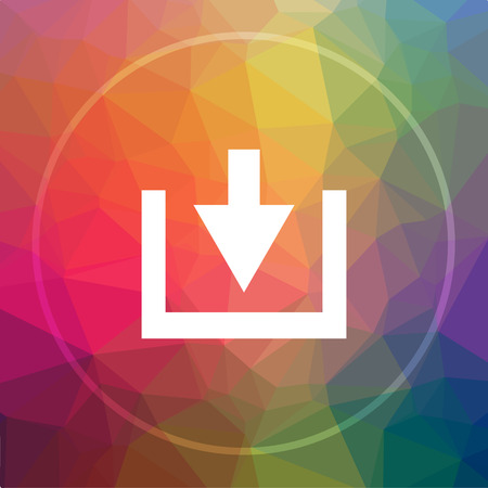 Download icon. Download website button on low poly background.
