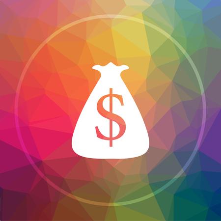 Dollar sack icon. Dollar sack website button on low poly background. Stock Photo