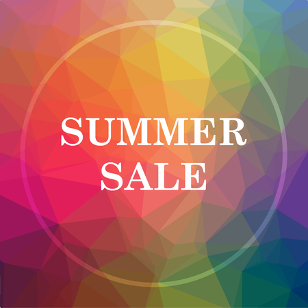 Summer sale icon. Summer sale website button on low poly background.