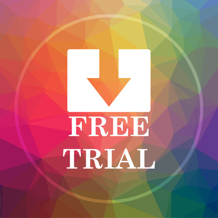 Free trial icon. Free trial website button on low poly background.