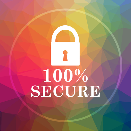 100 percent secure icon. 100 percent secure website button on low poly background.