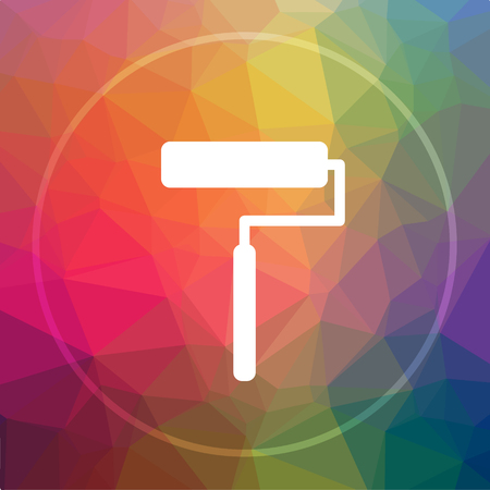 roller brush: Roller icon. Roller website button on low poly background. Stock Photo