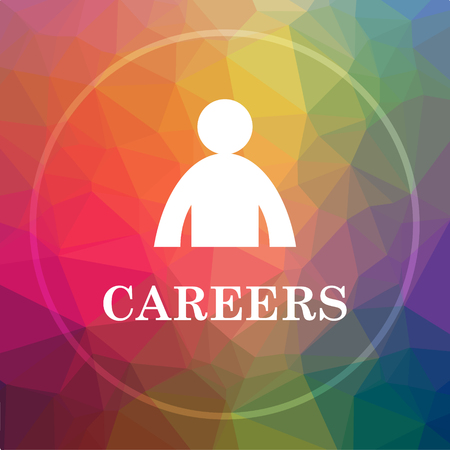 career entry: Careers icon. Careers website button on low poly background. Stock Photo