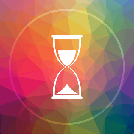 Hourglass icon. Hourglass website button on low poly background.