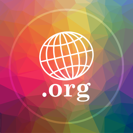 .org icon. .org website button on low poly background. Stock Photo