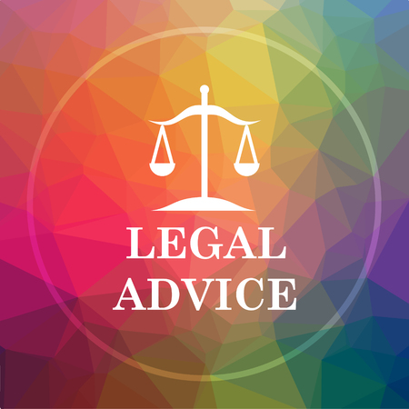 justice scale: Legal advice icon. Legal advice website button on low poly background. Stock Photo