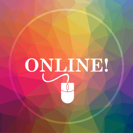 Online with mouse icon. Online with mouse website button on low poly background. Stock Photo