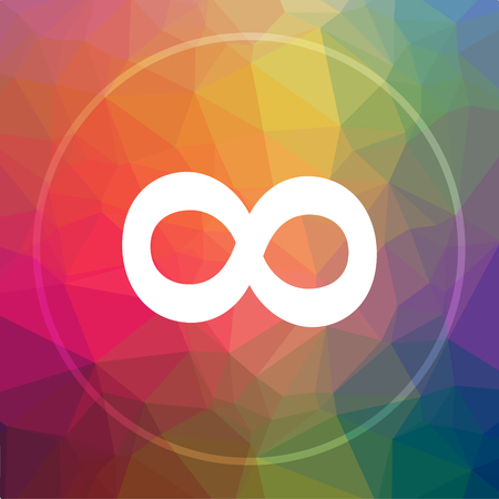 Infinity sign icon. Infinity sign website button on low poly background.