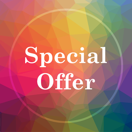 low price: Special offer icon. Special offer website button on low poly background.