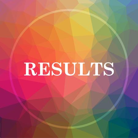 Cone de resultados. Botão do site de resultados em baixo fundo poli. Foto de archivo - 78786075