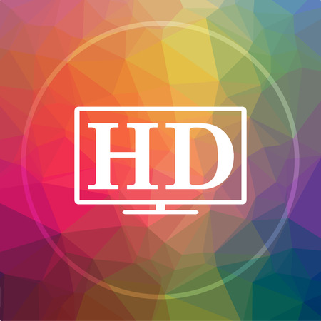 HD TV icon. HD TV website button on low poly background.
