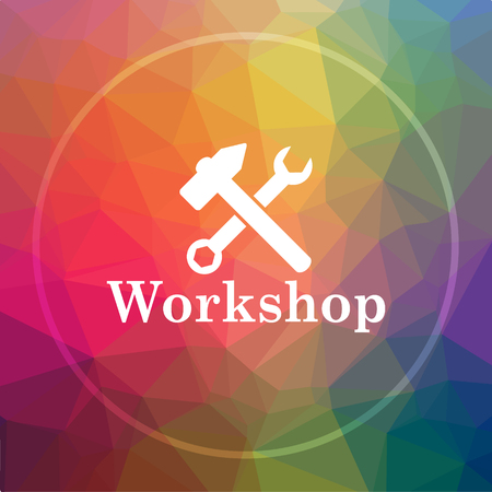 Workshop icon. Workshop website button on low poly background.