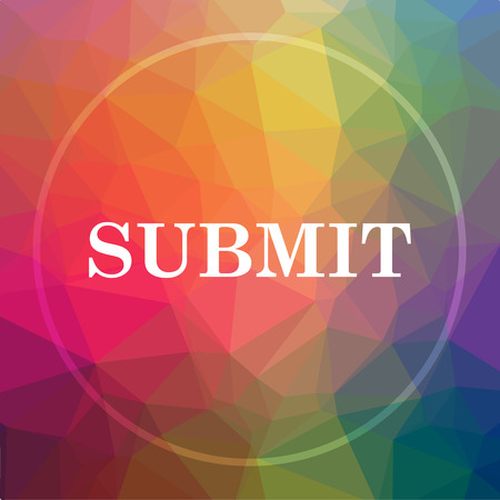 Submit icon. Submit website button on low poly background. Stock Photo