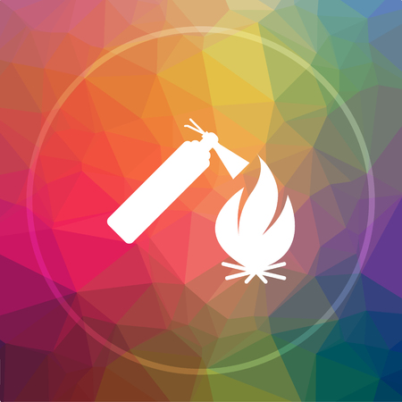 Fire icon. Fire website button on low poly background. Stock Photo