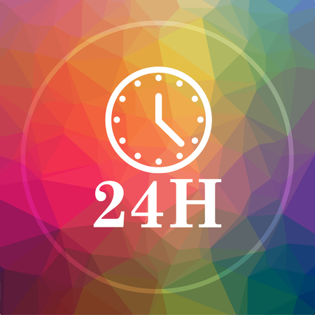 24H clock icon. 24H clock website button on low poly background.
