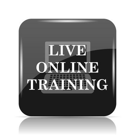 course development: Live online training icon. Internet button on white background.