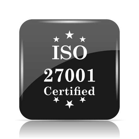 quality guarantee: ISO 27001 icon. Internet button on white background.