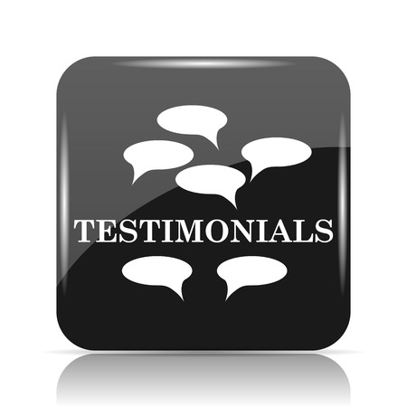 investigating: Testimonials icon. Internet button on white background.