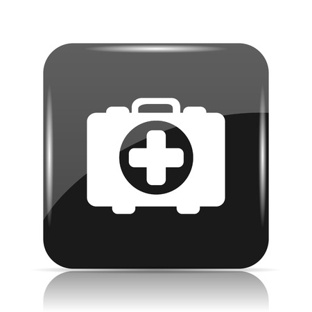 assisting: Medical bag icon. Internet button on white background.