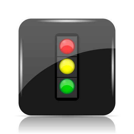 Traffic light icon. Internet button on white background. Stock Photo