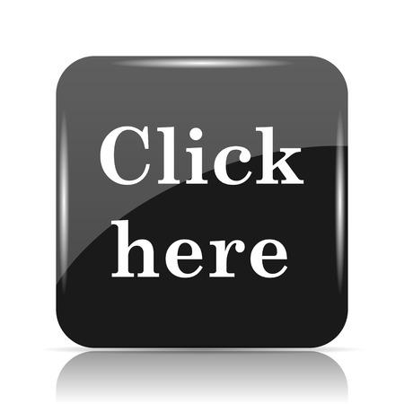 Klicken Sie hier Symbol . Internet-Taste auf weißem Hintergrund Standard-Bild - 80050164