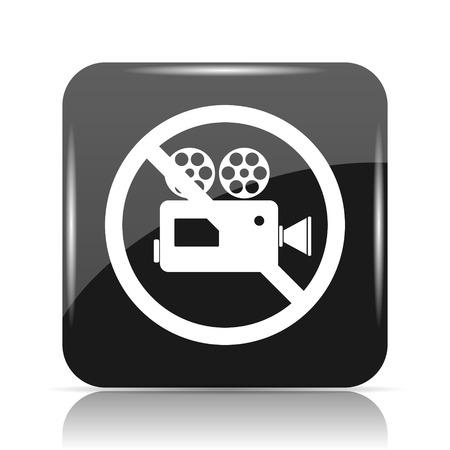 Forbidden video camera icon. Internet button on white background. Stock Photo