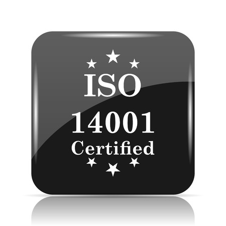 quality guarantee: ISO14001 icon. Internet button on white background.