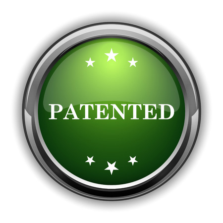 plagiarism: Patented icon. Patented website button on white background
