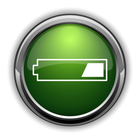 1 third charged battery icon. 1 third charged battery website button on white background