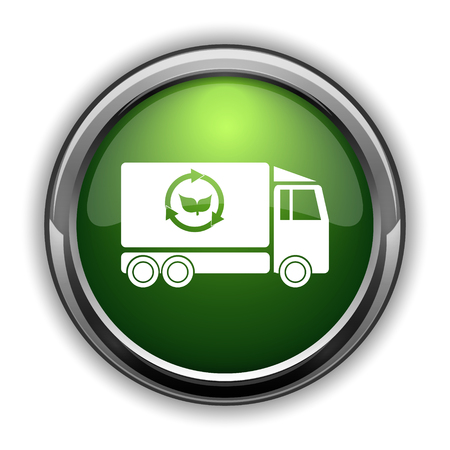 truck: Eco truck icon. Eco truck website button on white background