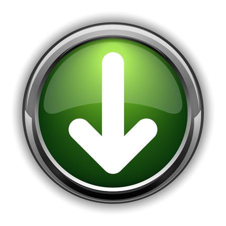 Down arrow icon. Down arrow website button on white background