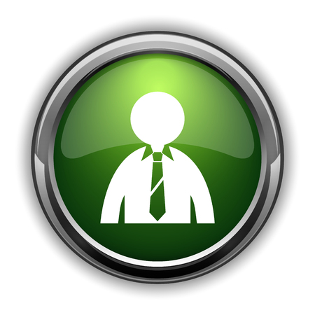 shirt tie: Business man icon. Business man website button on white background Stock Photo