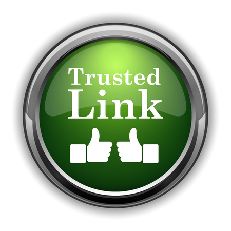 trusted: Trusted link icon. Trusted link website button on white background Stock Photo