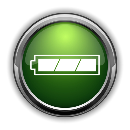 Fully charged battery icon. Fully charged battery website button on white background Stok Fotoğraf