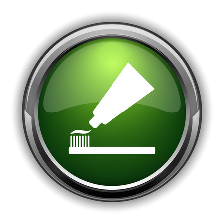 Tooth paste and brush icon. Tooth paste and brush website button on white background Stock Photo
