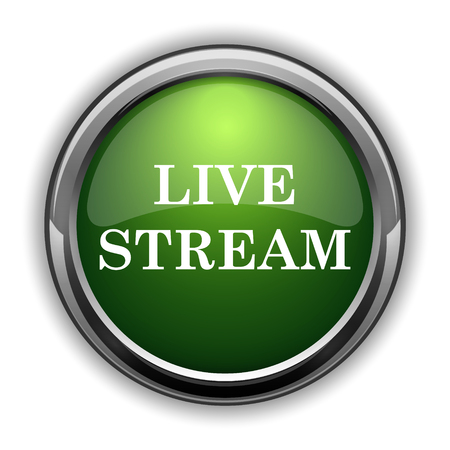 Live stream icon. Live stream website button on white background