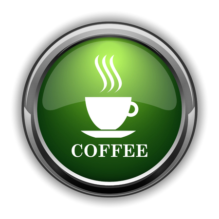 pause button: Coffee cup icon. Coffee cup website button on white background Stock Photo