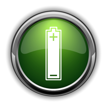 Battery icon. Battery website button on white background Stok Fotoğraf