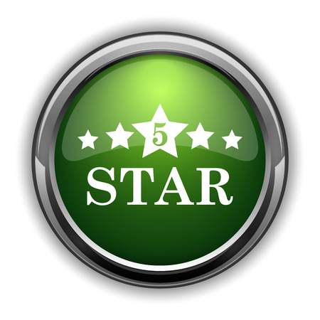 rate: 5 star icon. 5 star website button on white background Stock Photo