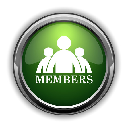 Members icon. Members website button on white background