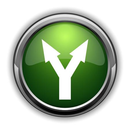 Split arrow icon. Split arrow website button on white background Stock Photo