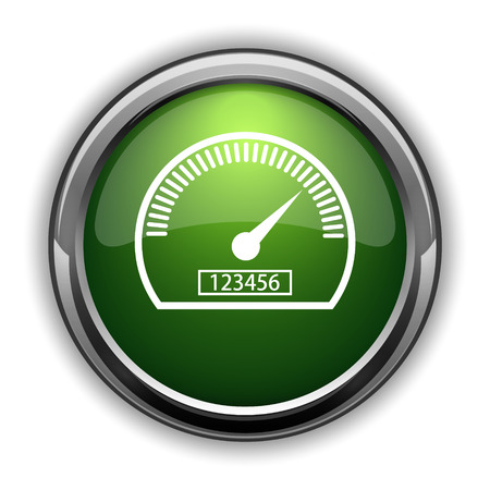 Speedometer icon. Speedometer website button on white background