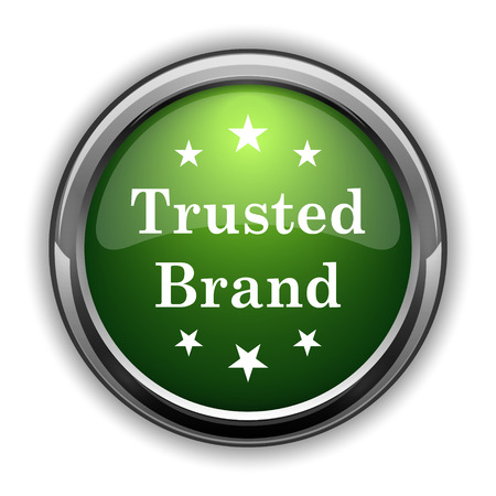 trusted: Trusted brand icon. Trusted brand website button on white background